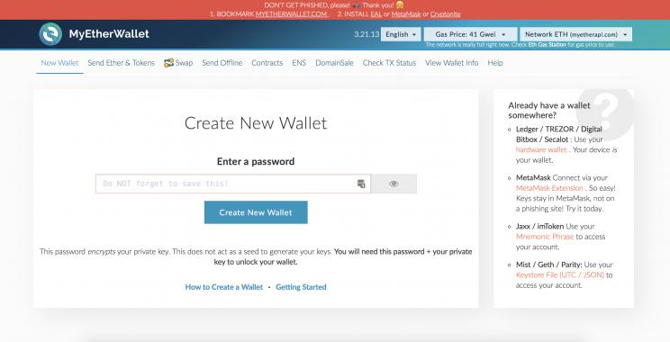 CHP Soft Wallet #1 MyEtherWallet