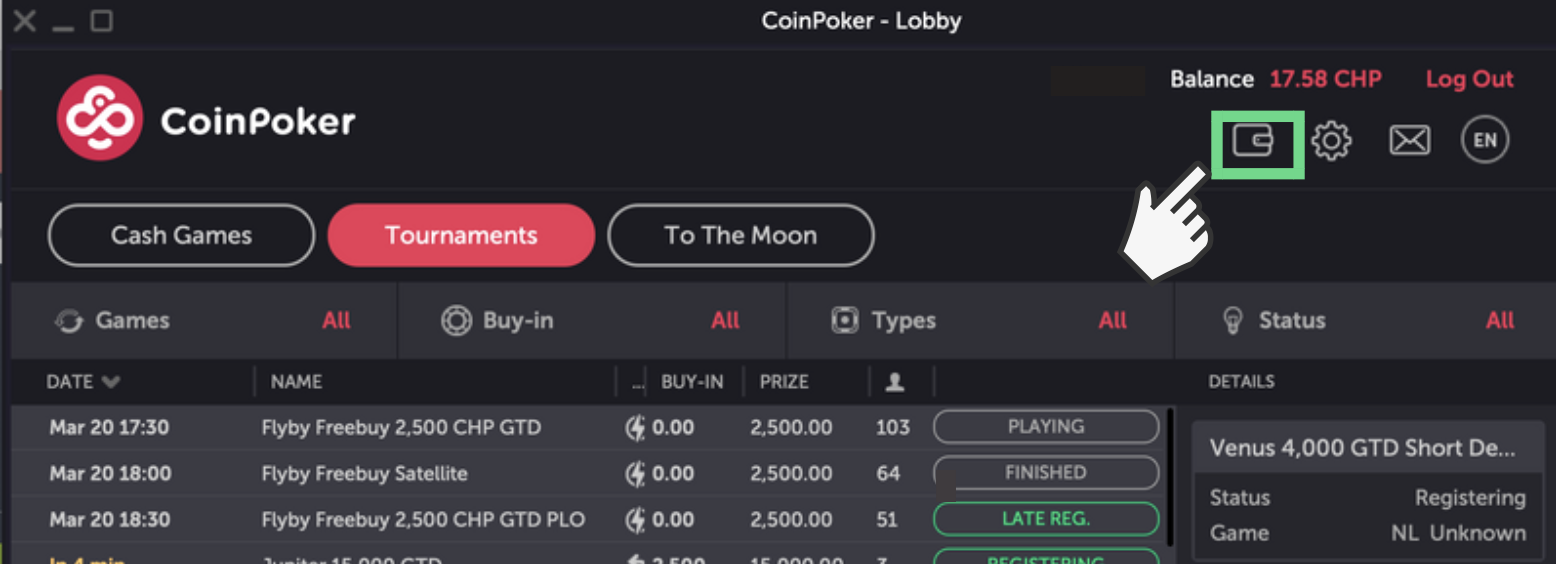 How to Withdraw CoinPoker Funds in ETH Step 1