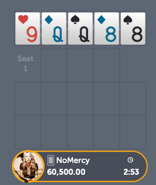 Opening hand in Open Face Chinese Poker, pair of queens