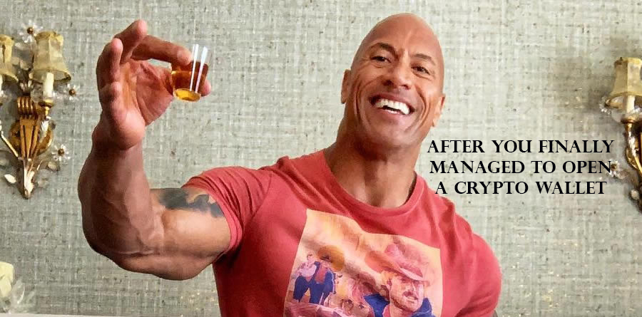 The Rock just after he opened his first crypto wallet