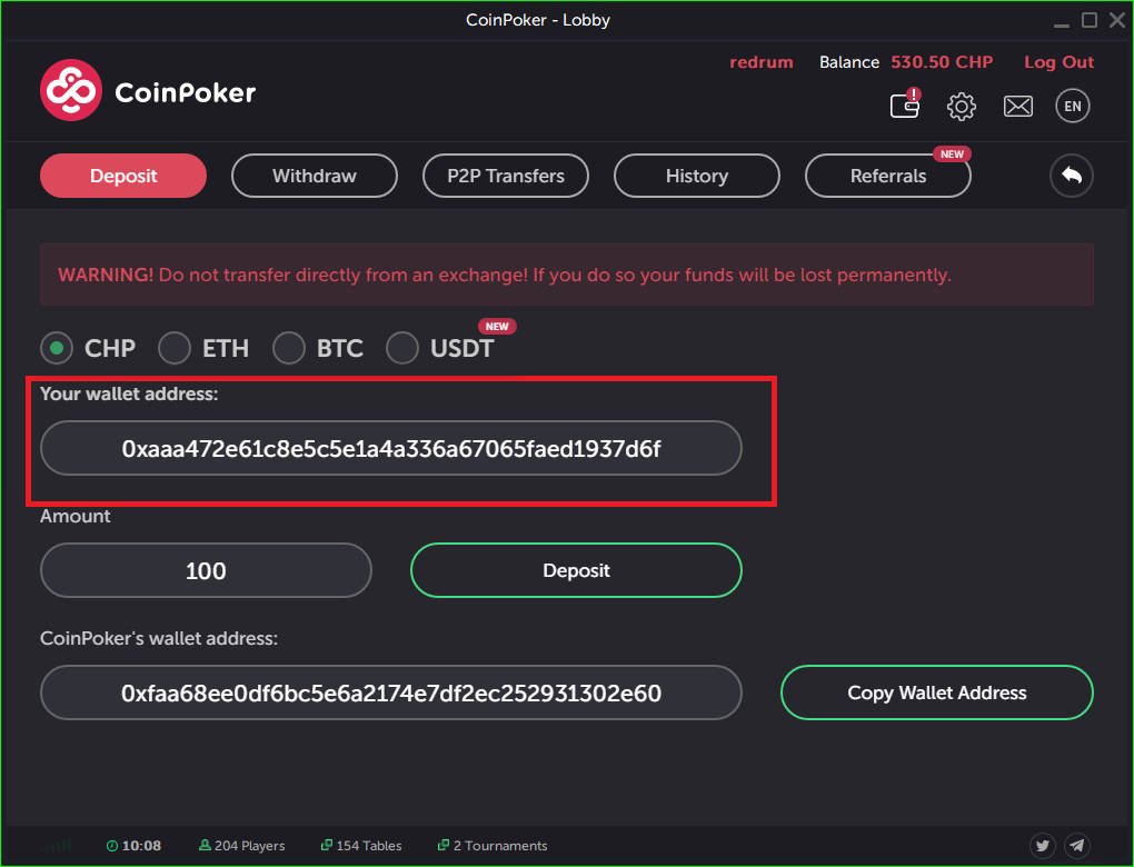 How to deposit at Coinpoker step 3