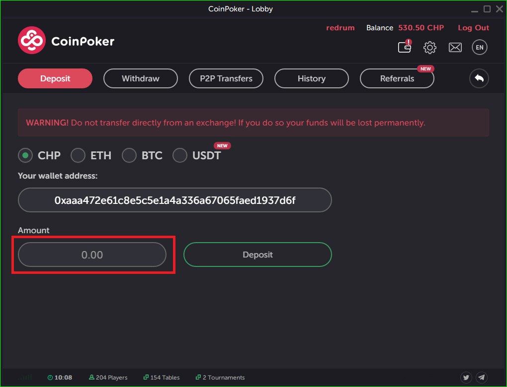 How to deposit at Coinpoker step 2
