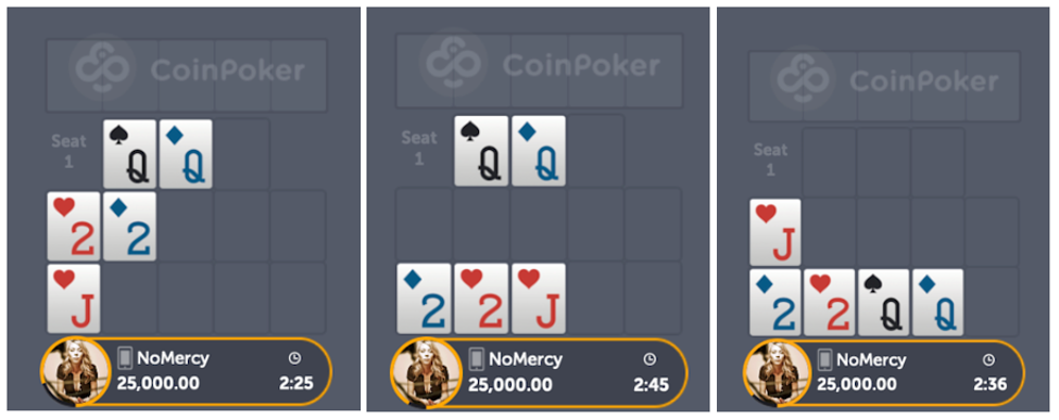 Different placements Open Face Chinese Poker OFC