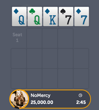 Open Face Chinese Poker opening with queens