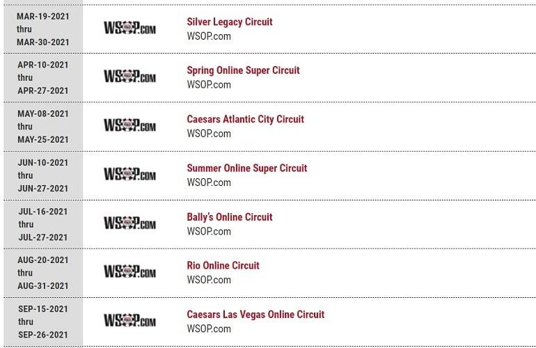 Online WSOP Calendar